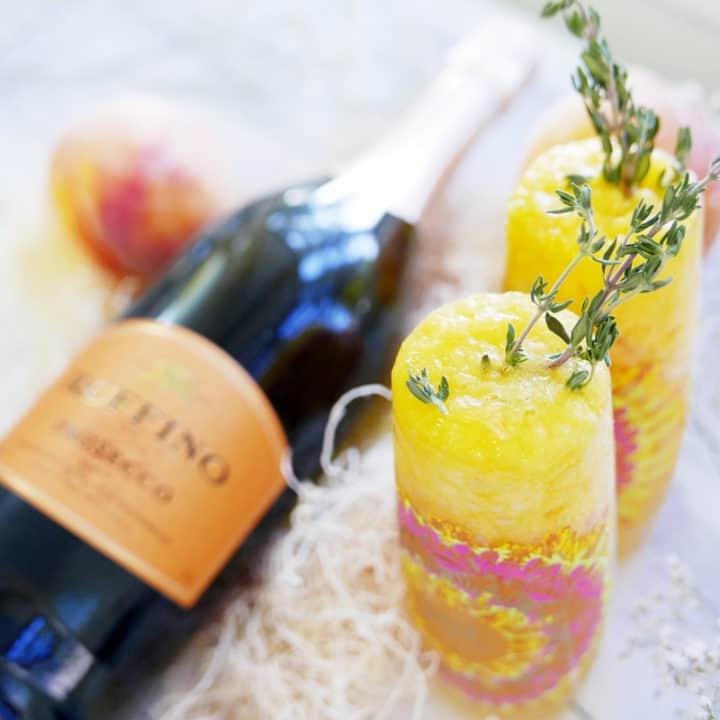 Peach Peach Thyme Bellini Cocktail Recipe Ruffino Prosecco Instanomss Nomss Delicious Food Photography Healthy Travel Lifestyle Canada