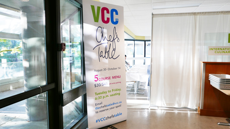 VCC Chef's Table Pop Up Kitchen | Vancouver Community College Culinary Arts