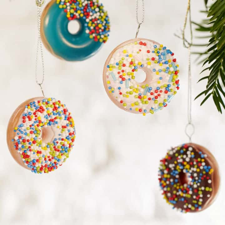 Donut ornament set christmas Tree decorations for the Heart Eyed Foodie