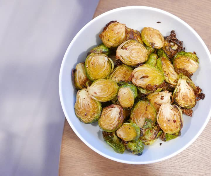 TFAL ACTIFRY BRUSSEL SPROUTS GARLIC CHILI RECIPE NOMSS.COM VANCOUVER FOOD RECIPE
