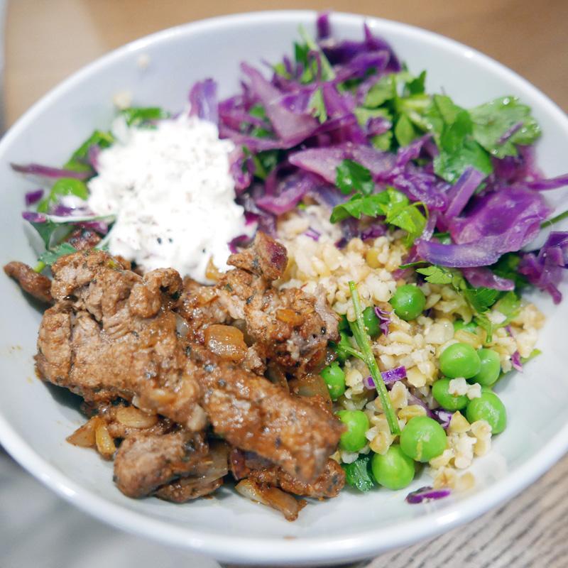 TURKISH SPICE BEEF FREEKAH BOWL NOMSS.COM FOOD RECIPE BLOG