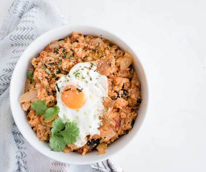 Kimchi Cauliflower Fried Rice Nomss