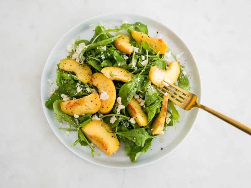 Summer Peach Arugula Salad with Elderflower Vinaigrette and Crumbled Feta Cheese