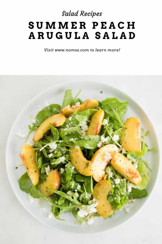 Make this refreshingly delicious summer salad bursting with juicy ripe peaches, bright feta, nutty pine nuts and fragrant elderflower vinaigrette against the pepper bite of arugula in just 5 minutes!!#peachsalad #summersaladrecipes #peachrecipes #elderflower #easyvinaigretterecipes #instanomss #bcpeaches #fetacheesesalads #fetacheeserecipes