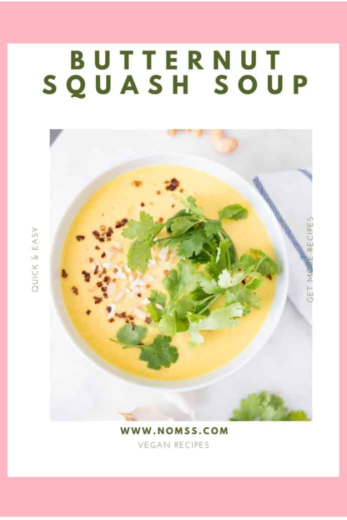 It is butternut squash season! Time to whip up lots of healthy and delicious recipes like this Easy Butternut Squash Soup! This nutrient-dense autumn vegetable is an excellent source of fibre, calcium, magnesium and Vitamins A, C, E and B. Just three tablespoons of cooked butternut squash counts as one of your five a day! #butternutsquashsoup #autumnsoup #soupforcoldweather #souprecipe #butternutsquashrecipes #vegansouprecipes #healthysouprecipes #instanomss
