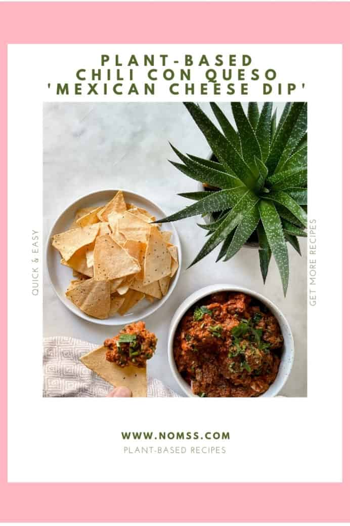 I love chips and dips! Salsa. Guacamole. Hummus. I love them all! This Plant-Based Chili Con Queso Mexican Cheese Dip is no exception! Today, I used Impossible Foods plant-based burger patty for a healthier vegan, plant-based meat alternative base! Grab your favourite tortilla chips, kick back and relax with Netflix! #conquesorecipes #conquesodip #mexicandiprecipes #mexicancheesediprecipes #texmexrecipes #plantbaseddips #plantbaseddiprecipes #instanomss #plantbased