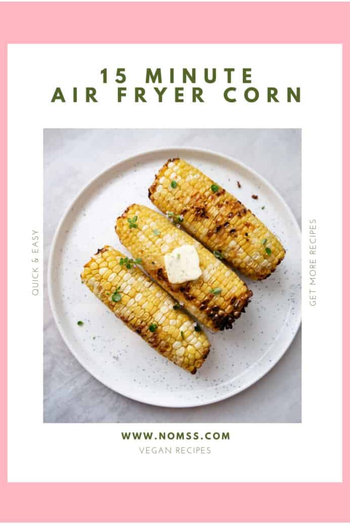 Air Fryer Corn is one of the simplest ways to indulge in Summer's sweet local corn. While steaks and vegetables are grilling on the barbecue, pop a couple of cobs of corn in the air fryer for 15 minutes for that quick and easy delicious charred perfection.#airfryercornonthecob#summercorn #cornrecipes #cornrecipessidedishes #airfryersidedish#airfryersidedishhealthy#airfryerappetizers#healthyairfryerrecipes  #localcorn #seasonalflavors #bccorn #instanomss #summerrecipes #veganrecipes #vegetarianrecipes