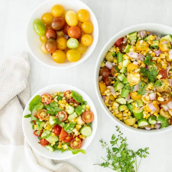 Air Fryer Corn on the Cob Summer Salad