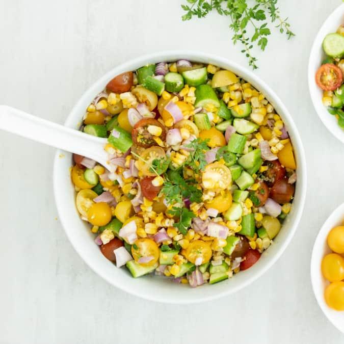 Air Fryer Simple Local Corn Summer Salad